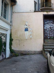 Detailiertes Stencil kombiniert mit schlichter Zeichnung für ein sehr liebenswertes Gesamtwerk - Lyon