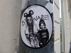 """Sticker: """"Beware!"""" ...Kinder von heute...! Wien"""