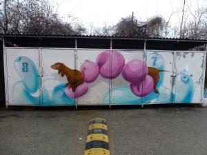 Dackel oder Wurst... Graffiti von Loomit auf dem Kunstpark Ost-Gelände | München
