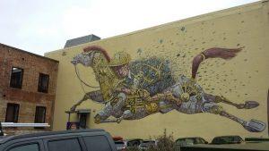 fettes Mural: Jockey und Pferd - irgendwo in Neuseeland...
