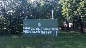 Selbsteinschätzung: Graffiti auf Stromkasten (?) in der Thalkirchnerstraße -
